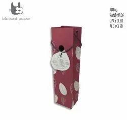 Charming Handmade Dull Red Paper Wine Bag - Off-White Leaves