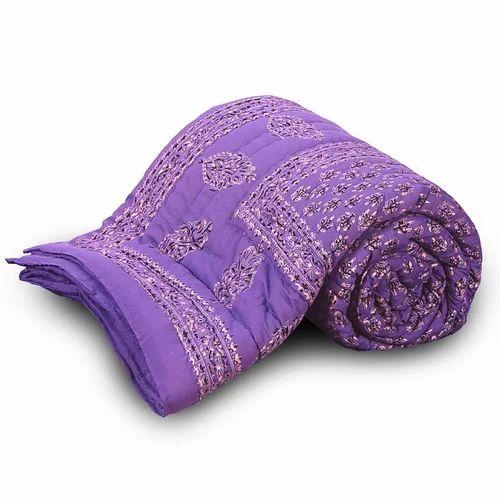Cotton Jaipuri Floral Single Bed Quilt 119