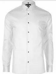 Cotton Plain White Men Formal Shirts, Dry clean
