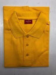 Men's Cotton Yellow Collar T-Shirt