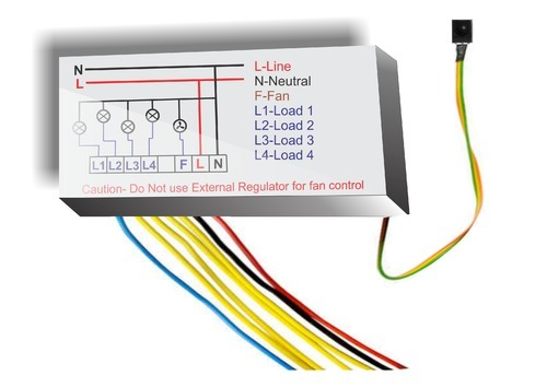 varni 4 light 1 fan remote control switches