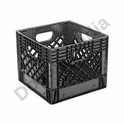 Black Square Milk Plastic Crates