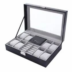 Luxury Genuine Leather 2 In One 8 Grids Watches & Jewellery Storage Organizer Box & Ring Collection