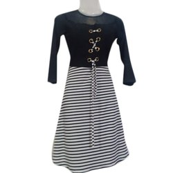 Lycra Fabric Casual Wear Black and White Long Dress