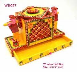 Free Hand Wooden Doli Box/ Wedding Invitation Holder, For Decorative, 12x5x7 Inch