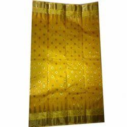 Party Wear Tant jori work Ladies Golden Silk Saree, 5.3 m