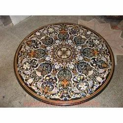 Black Marble Inlaid Pietra Dura Table Top