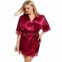 Ladies Satin Maroon Nightgown