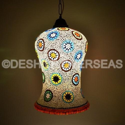 Decorative Long Glass Hanging Lantern