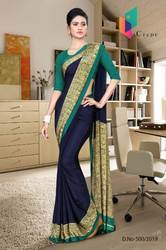 Italian Crape Material 6.3 Mtr Uniform Saree with Blouse piece For Staff Teachers