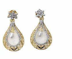 Pearl Jhoomki Cz Earring