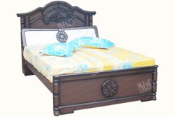 Brown Rich Designed Solid Wood Head Box Storage Cots