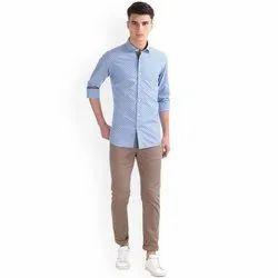 Linen Collar Neck Blue Mens Plain Shirt