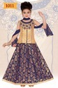 Indian Party Blue Gold Lehengas for Girls