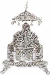 White Metal Laxmi Ganesha Singhasan
