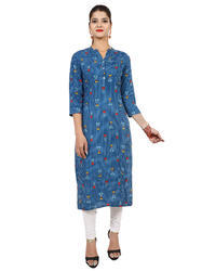 Women's Rayon Printed Blue Kurta