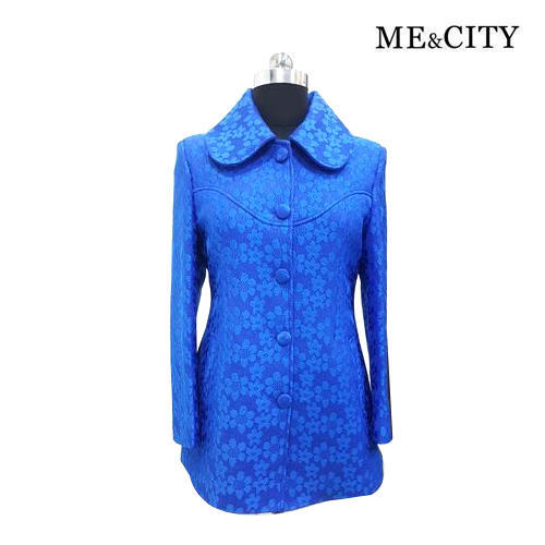 Ladies Floral Print Casual Blue Winter Coat, Size: M-XXL