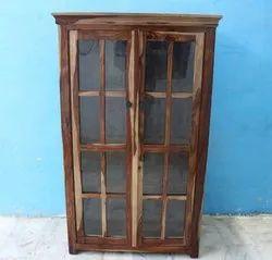 Solid Wood Jodhpur Almirah Bookcase With Glass Doors Cupboard