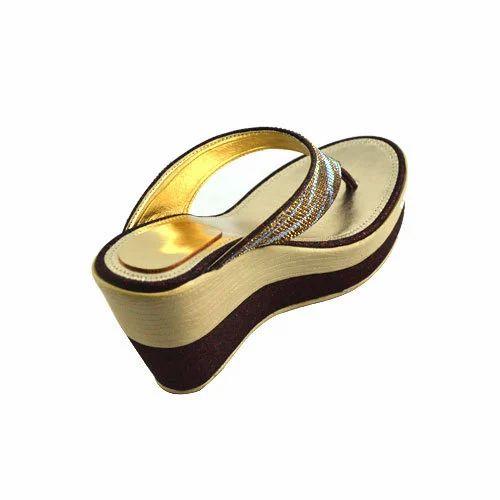 2596c4d82 MACHO Black And Golden Party Wear Ladies Sandal