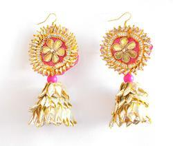Pink Gota Patti Earrings for Women & Girls