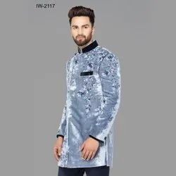 Diwan Saheb IW-2117 Mens Grey Embroidered Indo Western