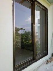 Modern Powder Coated Aluminium Domal Sliding Window, For Residential