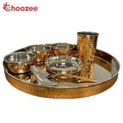 Choozee - Copper Thali Set (8 Pcs) of Thali, Bowl, Spoon & Glass