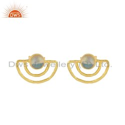 Moon Design Yellow Gold Plated Sterling Silver Ethiopian Opal Stud Earrings