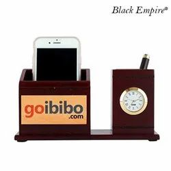 Mount Type Brown Wooden Mobile and Pen Stand for Office
