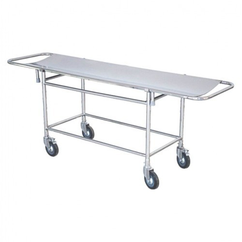 Silver Stainless Steel Patient Stretcher Trolley, For Hospital, Size: (height) 810 Mm