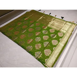 Dark Green Banarasi Saree