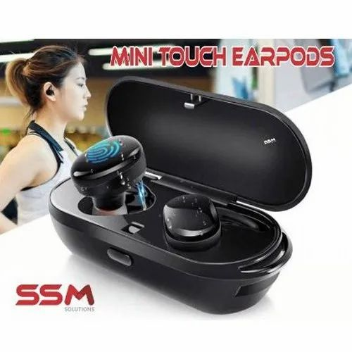 Black ABS Plastic Mini Touch Earpods, Weight: 5 G