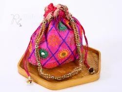 Hot Pinky Embroidery Gift Pouch