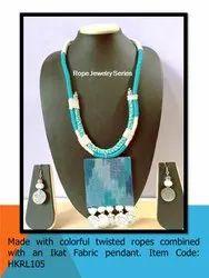 HKRL105 Rope Jewelry Ikat Fabric Pendant