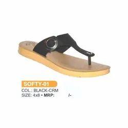Bosco Black Cream SOFTY 01 Ladies Casual Slipper, Size: 4-8