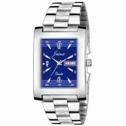 Jainx Square Blue Dial Day and Date Functioning Analog Watch for Men's - JM362