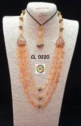 Cl Code Semi Precious Stone Beads Rose Gold Multilayer Party Wear Fashion Jewelry Necklace Earrings