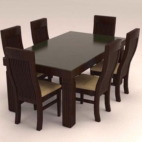 Rectangular 6 Seater Wooden Dining Table Set For Home, Rs ...