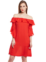 Beautiful Designer Summer Cool Red Colour Ruffle Dress