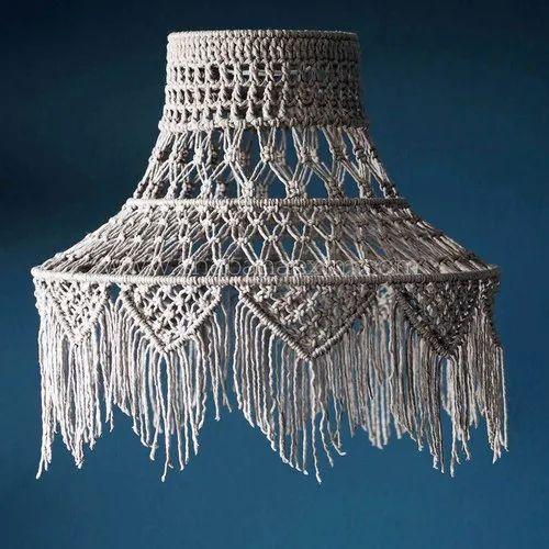Natural Cotton Rope Macrame Lamp Shade - Shabana Exports & Imports