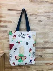 Canvas Bag With Pineapple Print
