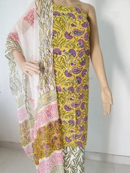 Cotton Salwar Suit with Chiffon Dupatta