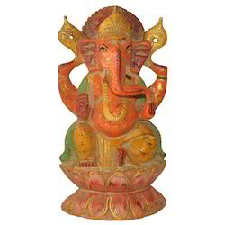 Hand Made Wooden Antique Ganesha Statue