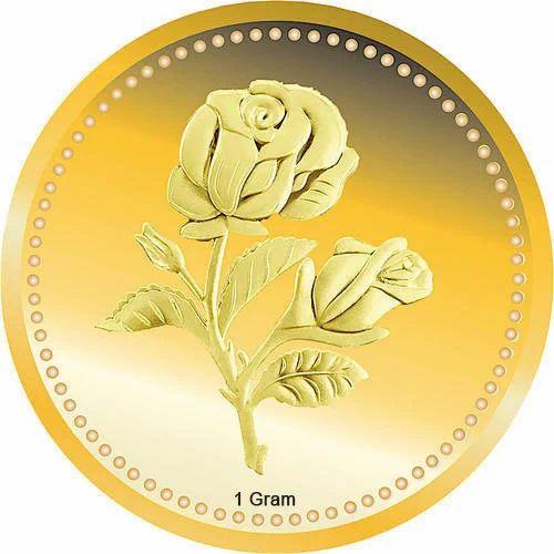 24k 1 Gram Rose Flower Gold Coin