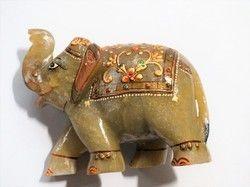 Meenakari Jade Natural Stone Elephant Statue