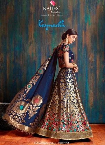 fe8881ba28 Pure Banarasi Silk Embroidered Wedding Wear Lehenga, Rs 5350 /piece ...