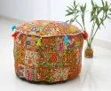 Indian Vintage Patchwork Embroidered Ottoman Pouffe Cover Handmade Home Decor