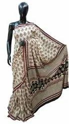 Bagru Natural Print Cotton Mulmul Saree with Blouse Piece