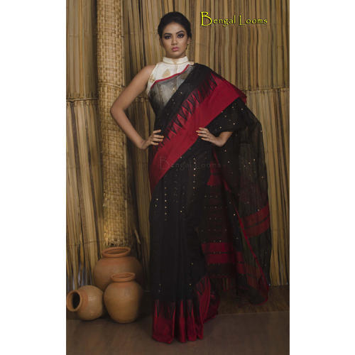 bb723a0a12 Pure Handloom Khadi Soft Cotton Saree With Sequin Work And Solid Satin  Border In Black And