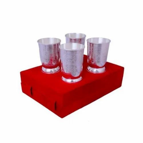 Silver Plated Brass Glass Set, Packaging Type: Box